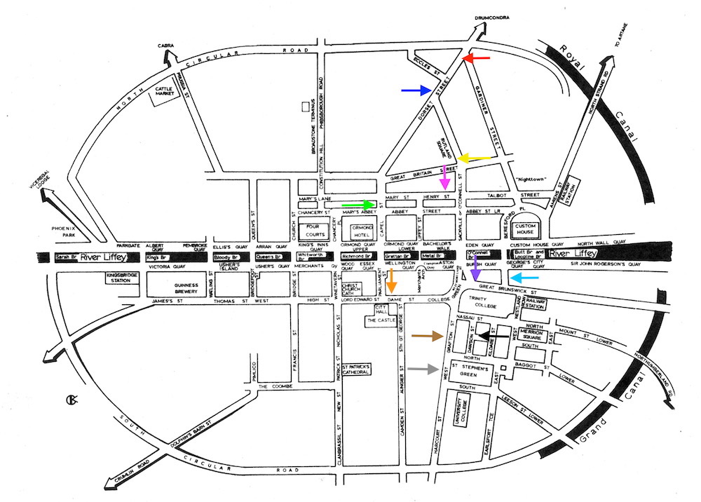 Bolands bread schematic map of dublin with arrows added to show dorset street upper dark blue dorset street lower red dame street orange great brunswick street ccuart Images